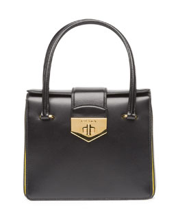 Prada Box Calf Bicolor Satchel Bag, Black/Yellow (Nero+Girasole)