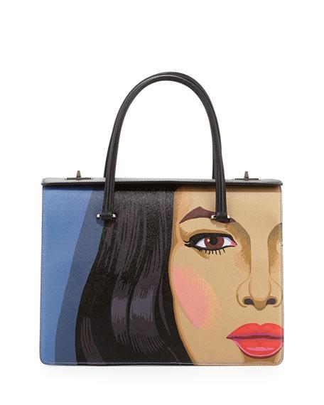 Girl-Print Saffiano Satchel Bag, Multi (Viola+Nero)