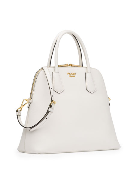 6046bcdb8340 Prada Saffiano Cuir Large Dome Satchel Bag, White (Bianco)