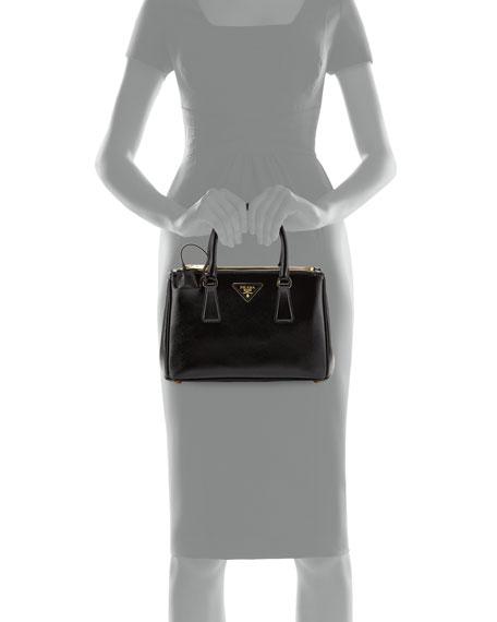 Saffiano Double-Zip Mini Crossbody, Black (Nero)