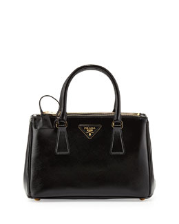 Prada Mini Vernice Saffiano Double-Zip Tote Bag, Black (Nero)