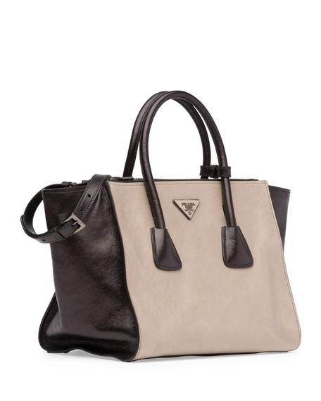 84c4557bfe590 prada glace calf suede mini twin pocket tote