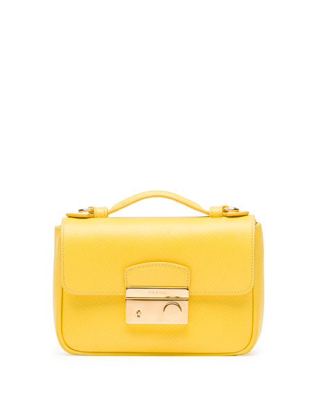 Prada Saffiano Mini Sound Crossbody Bag, Yellow (Girasole)