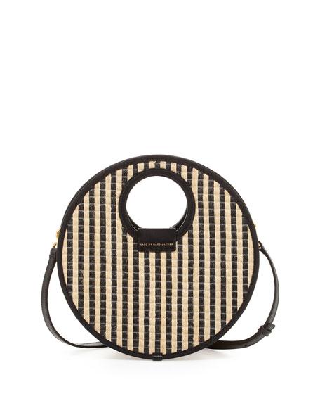 Isle De Sea Crossbody Basket Bag, Black Stripe