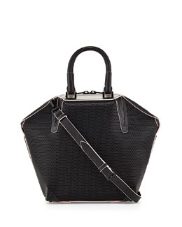 Alexander Wang Small Emile 3D Mesh Leather Satchel Bag, Black