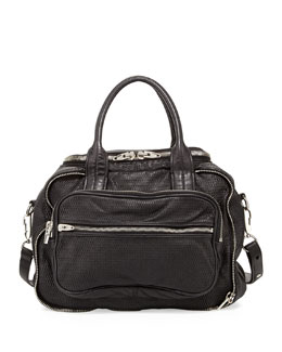 Alexander Wang Eugene 3D Leather-Mesh Satchel, Black