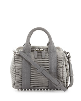 Alexander Wang Rockie Mesh Small Crossbody Satchel, Exhaust Gray