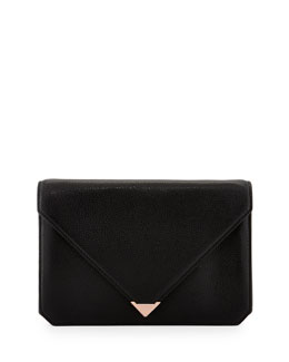 Alexander Wang Prisma Pebble Leather Envelope Clutch, Black