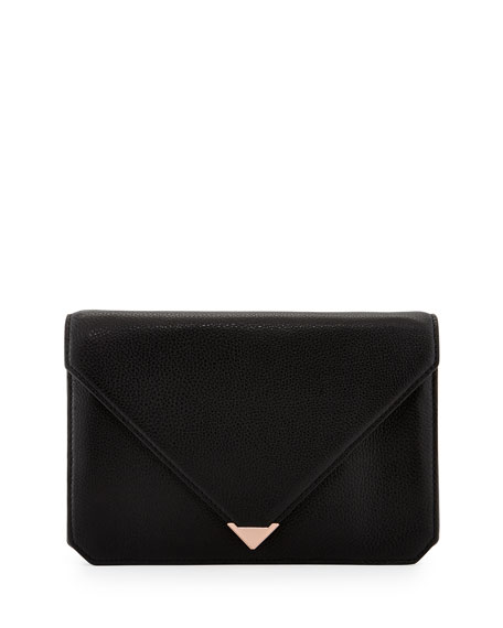 Prisma Pebble Leather Envelope Clutch, Black