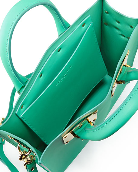 Mini Buckled Leather Tote Bag with Frog, Fluoro Green