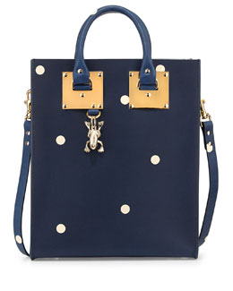Sophie Hulme Spotted Mini Tote Bag, Navy/Cream