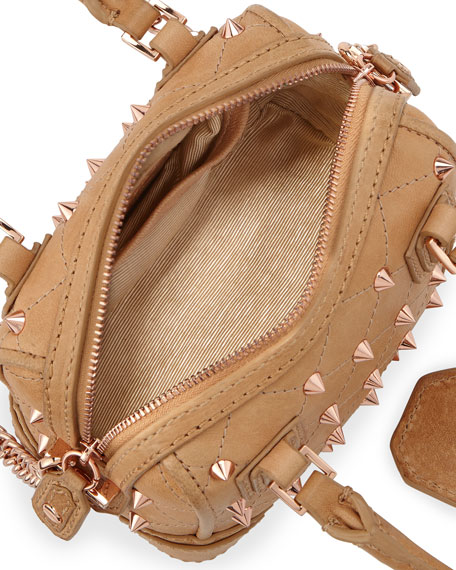 Olivia Mini Quilted Spiked Crossbody Bag, Nude