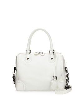 Alice + Olivia Olivia Pebbled/Patent Satchel Bag, White