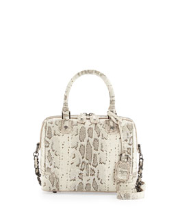 Alice + Olivia Olivia Snake-Print Satchel Bag, Natural