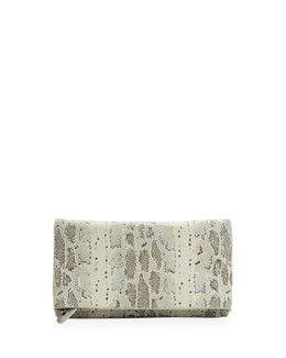 Alice + Olivia Me Hologram Snake-Print Clutch Bag, Natural