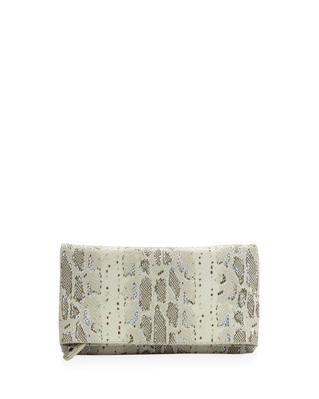 Me Hologram Snake-Print Clutch Bag, Natural