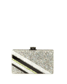 Edie Parker Jean Retro Stripe Acrylic Clutch Bag