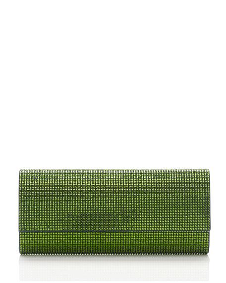 Ritz Fizz Crystal Clutch Bag, Silver Fern Green