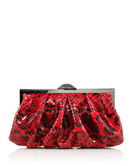 Natalie Anaconda Clutch Bag, Red/Black