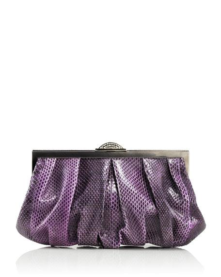 Natalie Anaconda Clutch Bag, Silver Orchid