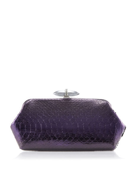 Whitman Python Clutch Bag, Antique Silver/Violet