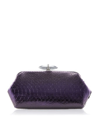 Whitman Python Clutch Bag, Antique Silver/Violet