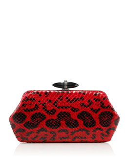 Judith Leiber Couture Whitman Anaconda Clutch Bag, Red/Black