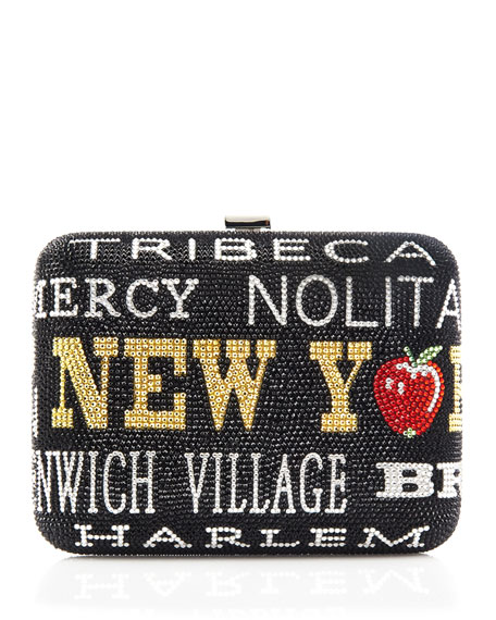 New York, New York Slim Rectangle Clutch Bag, Jet Multi