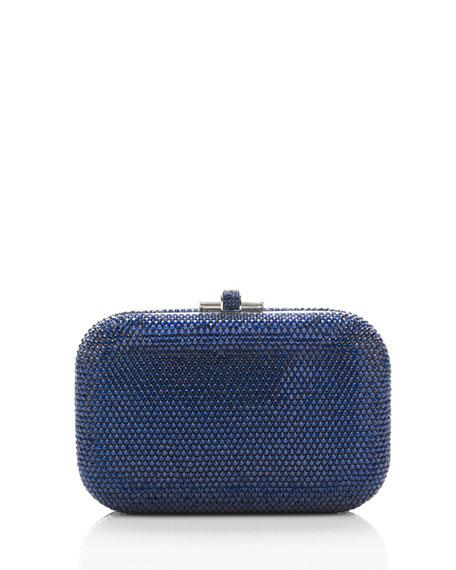 Crystal Slide-Lock Clutch Bag, Dark Indigo