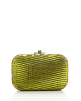 Judith Leiber Couture Crystal Slide-Lock Clutch Bag, Olivine