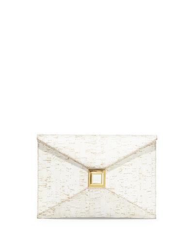 Prunella Cork Clutch Bag, White