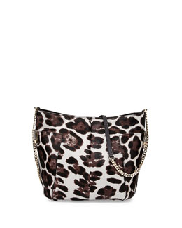 Jimmy Choo Anabel Leopard-Print Calf Hair Crossbody Bag, Gray