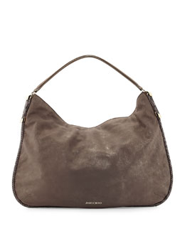Jimmy Choo Zoe Medium Suede Hobo Bag, Champagne