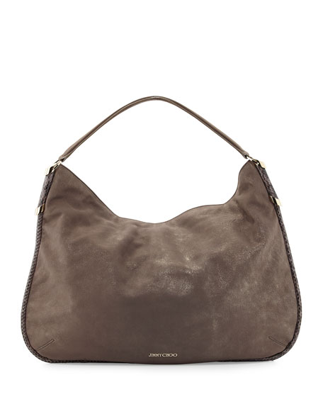 Zoe Medium Suede Hobo Bag Champagne a5308f8e5aeed