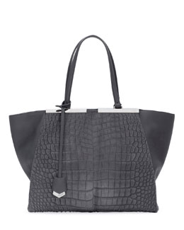 Fendi Trois-Jour Calf Hair Tote Bag, Gray