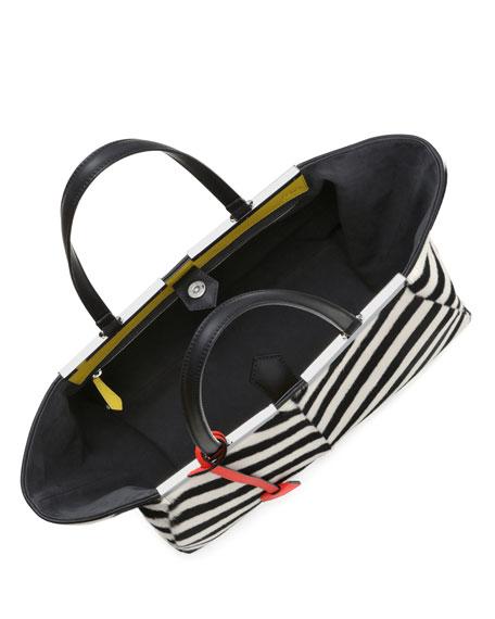 Trois Jour Chevron Shearling Tote Bag, Black/White