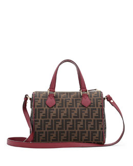 Fendi Zucca Small Canvas Boston Bag, Brown/Red