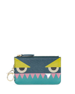 Fendi Monster Diamond-Tooth Key Clip Coin Pouch, Aqua