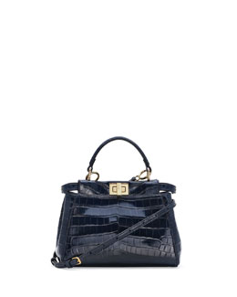 Fendi Peekaboo Alligator Mini Satchel Bag, Navy