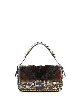 Fendi Baguette Stud Embellished Fur Bag, Black