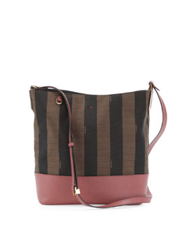 Fendi Pequin Striped Small Bucket Bag, Brown/Pink