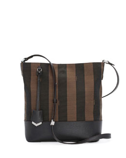 Fendi Pequin Striped Small Bucket Bag, Brown