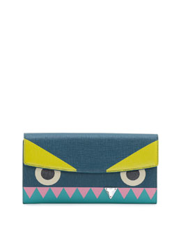 Fendi Monster Crystal-Tooth Continental Wallet