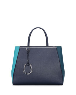 Fendi 2Jours Bicolor Shopping Tote Bag, Teal