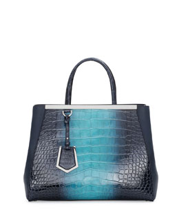 2Jours Crocodile Shopping Tote Bag, Navy