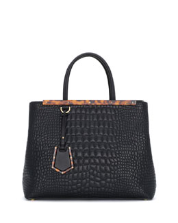 Fendi 2Jours Stitched-Croc Shopping Tote Bag, Black