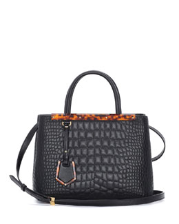 Fendi 2Jours Mini Croc-Stitched Shopping Tote Bag, Black
