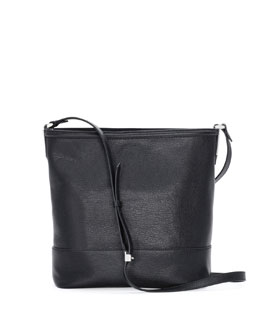 Fendi Small Madras Leather Bucket Bag, Black