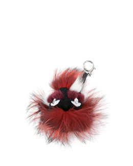 Fendi Crystal-Eyed Fur Monster Charm for Handbag, Bordeaux Multi