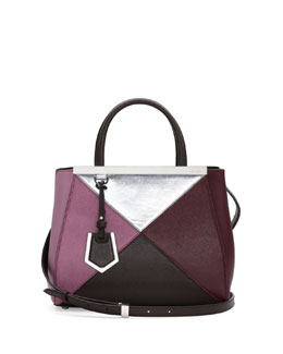 Fendi 2Jours Mini Mixed-Leather Tote Bag, Bordeaux